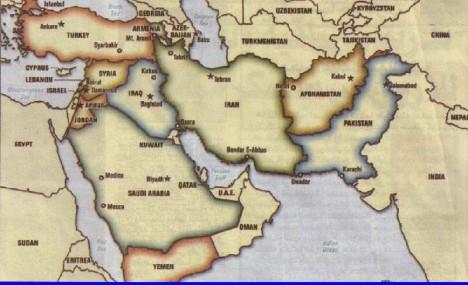 Peta Timur Tengah dan sekitarnya