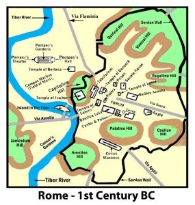 Peta 7 bukit kota Roma kuno sebelum abad I