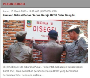 Pemerintah Bekasi menyegel tempat ibadah umat HKBP