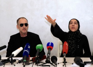 Anzor Tsarnaev and Zubeidat Tsarnaeva, parents of Boston bombings suspects, attend news conference in Makhachkala