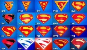 Perubahan bentuk S pada Logo Superman tahun 1938 ke 2013