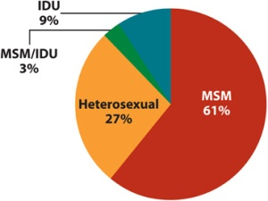 Diagram HIV infeksi in AS 2009 oleh katagory transmisi