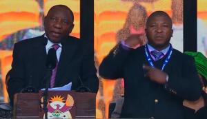 Penterjemah bahasa sandi palsu pada peringatan Nelson Mandela