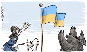 Karikatur Uni Eropa dan Rusia memperebutkan Ukrainia