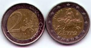 Koin 2 Euro Uni Eropa bergambar Wanita mengendarai binatang