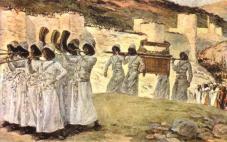 Orang Israel mengarak Tabut Perjanjian mengelilingi tembok Yeriko