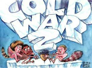 Karikatur Perang Dingin abad 21 karena Ukrainia