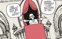 karikatur Paus Francis tentang pendeta homo di Gereja Katolik