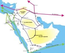 Peta kota Petra atau Bakka jalur pusat perjalanan Timur Tengah di Jaman nabi Muhammad