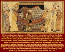 Tradisi Islam Muhammad menaruh Batu Hitam ke kain untuk diletakkan di Kaaba