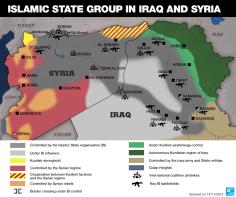 Peta wilayah pendudukan militer Syria, Kurdi, Irak dan Khalifah Islam