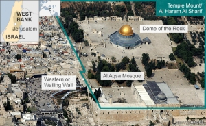 Gunung Bait Suci Yerusalem dengan Kubah Batu dan Mesjid Al Aqsa